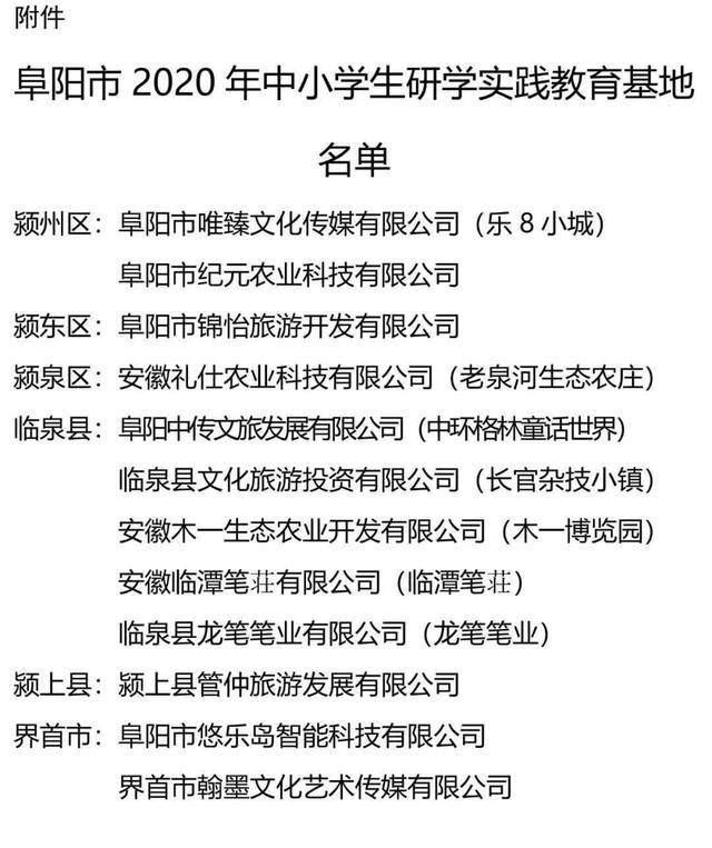 安徽阜阳公布2020年中小学生研学实践教育基地